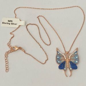 Jewelry - 925 Butterfly sapphire cz stones silver necklace
